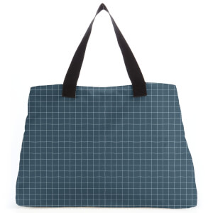 Blue Check Large Tote Bag