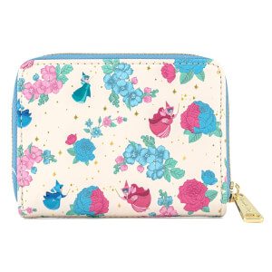 Loungefly Disney Sleeping Beauty Floral Fairy Godmotther AOP Zip Around Wallet