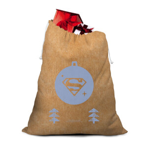 Superman Bauble Hessian Santa Sack