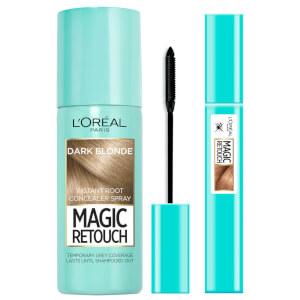 L'Oréal Paris Magic Retouch dark blonde 75ml & Precision Instant Grey Concealer Brush Set
