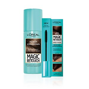 L'Oréal Paris Magic Retouch 9 Medium Iced Brown 75ml & Precision Instant Grey Concealer Brush Set