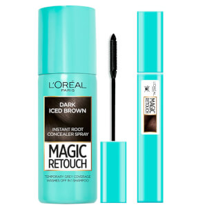 L'Oréal Paris Magic Retouch Dark Iced Brown 75ml & Precision Instant Grey Concealer Brush Set