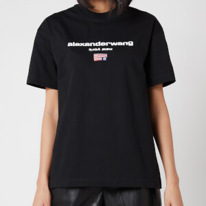 Alexander Wang Women's Short Sleeve Logo Graphic T-Shirt - Black
