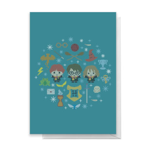 Harry Potter Trio Wreath Greetings Card