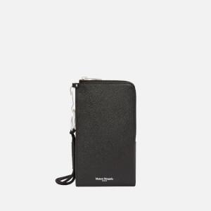 Maison Margiela Men's Grainy Leather Phone Wallet - Black