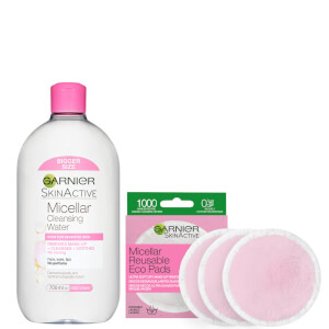 Garnier Makeup Remover Eco Pads and 700ml Micellar Water Duo Set