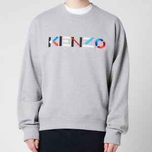 KENZO Men's Multicolour Logo Classic Sweatshirt - Pearl Grey