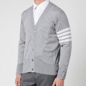 Thom Browne Men's Engineered Four-Bar Stripe Wool Cardigan - Light Grey
