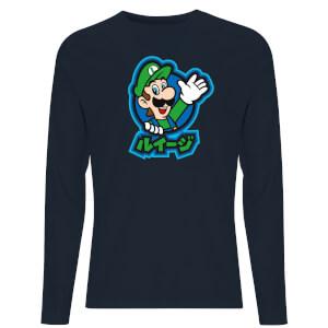 Nintendo Super Mario Luigi Kanji Unisex Long Sleeve T-Shirt - Navy