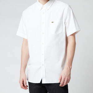 Lacoste Men's Regular Fit Short Sleeve Oxford Shirt - White