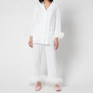 Sleeper Women's Party Pyjama Set with Double Feathers - White