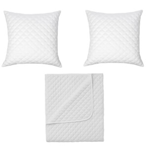 in homeware Diamond Quilted Throw Blanket + 2 Cushions Set - White