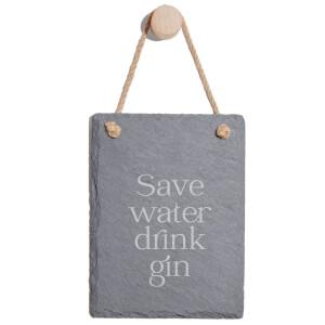 Save Water Drink Gin Engraved Slate Memo Board - Portrait
