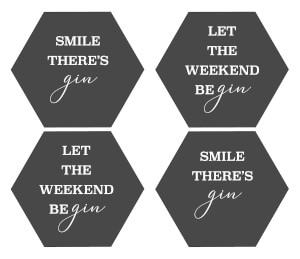 Smile There's Gin Hexagonal Coaster Set
