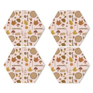 Autumn Forest Hexagonal Coaster Set
