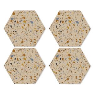 Autumn Terrazzo Hexagonal Coaster Set