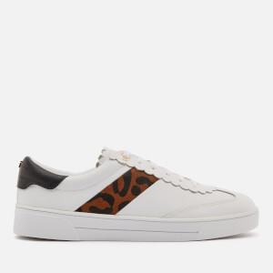 Ted Baker Women's Allvap Leather Cupsole Trainers - White/Leopard