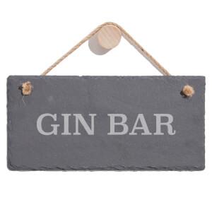 Gin Bar Engraved Slate Hanging Sign