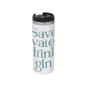 Save Water Drink Gin Stainless Steel Thermo Travel Mug - Metallic Finish
