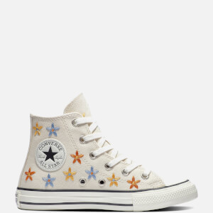 Converse Kids' Chuck Taylor All Star Hi - Top Floral Trainers - Natural Ivory/Egret