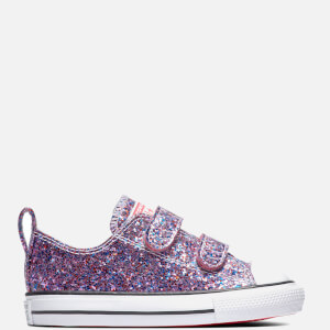 Converse Toddlers' Chuck Taylor All Star Glitter Ox Velcro Trainers - Bold Pink