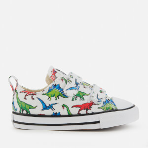 Converse Toddlers' Chuck Taylor All Star Dinoverse Ox Velcro Trainers - White/Bold Wasab