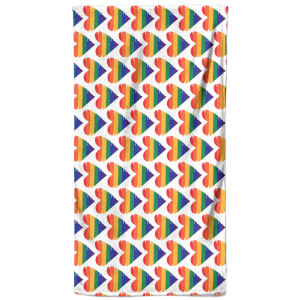 Rainbow Hearts Beach Towel