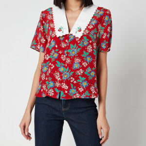 RIXO Women's Flora Embroidered Collared Silk Blouse - Garden Party Red