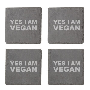 Vegan Collection 2020 Yes I Am Vegan Engraved Slate Coaster Set