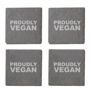 Vegan Collection 2020 Proudly Vegan Engraved Slate Coaster Set