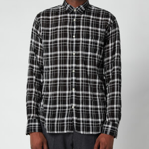 Officine Generale Men's Lipp Tencil Check Shirt - Black/Grey/White