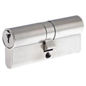 Yale Kitemarked Euro Double Cylinder - 45:10:45 (100mm) - Nickel Finish