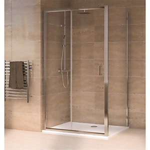 Aqualux Sliding Door 1200 x 900mm Shower Enclosure and Tray Package