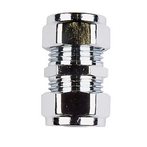 Compression Connector - Chrome and Brass - 15mm