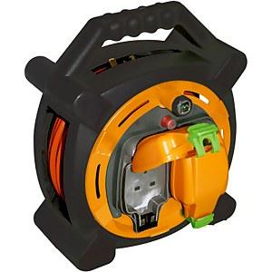 Masterplug 2 Socket Cable Reel with IP Rated Sockets 20m Black/Orange