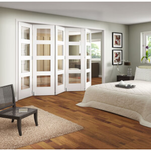 Clear Glazed Primed Internal Room Divider Doorset - 1929mm Wide
