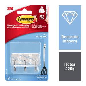 Command Small Clear Wire Hooks with Clear Strips