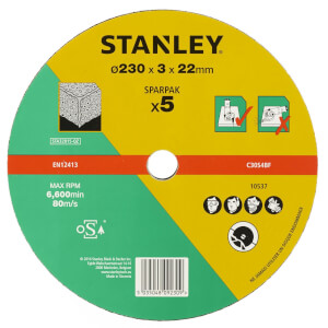 Stanley 230mm Stone Cutting Disk Pack - STA32815-QZ