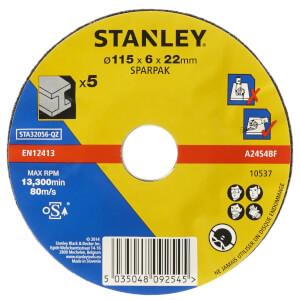 Stanley 115mm Metal Grinding Disc Pack - STA32056-QZ