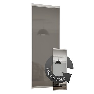 Duo Sliding Wardrobe Door Cappuccino Glass / Mirror with Aluminium Frame (W)610mm