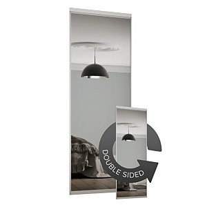 Duo Sliding Wardrobe Door Mirror with Aluminium Frame (W)914mm