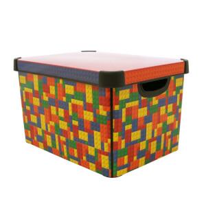 Curver Stockholm Bright Blocks Plastic Deco Storage Box Multi Colour 22L