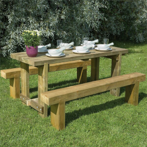 Forest Garden Refectory 1.8m Wooden 6 Seater Picnic Table Sleeper Bench Set