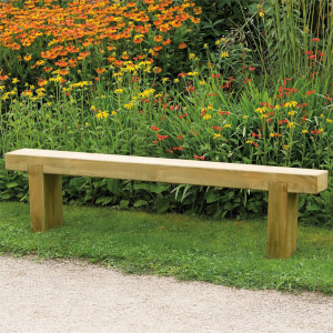 Forest Garden Wooden Sleeper Bench - 1.2m