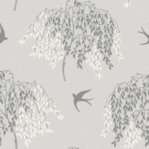 Arthouse Willow Song Trees Textured Glitter Grey Wallpaper