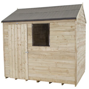 8x6ft Forest Natural Timber Overlap Reverse Apex Wooden Shed