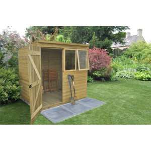 7x5ft Forest Natural Timber Tongue & Groove Pent Wooden Shed