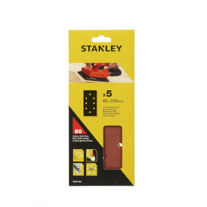 Stanley 1/3 Sheet Sander Punched Wire Clip 80G Sanding Sheets - STA31153-XJ