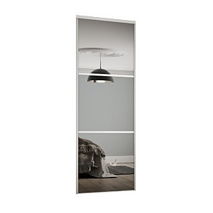 Linear Sliding Wardrobe Door 3 Panel Mirror with White Frame (W)914mm