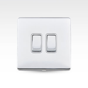 Arlec Metal Screwless 10 Amp 2 Gang 2 Way Switch Polished Chrome